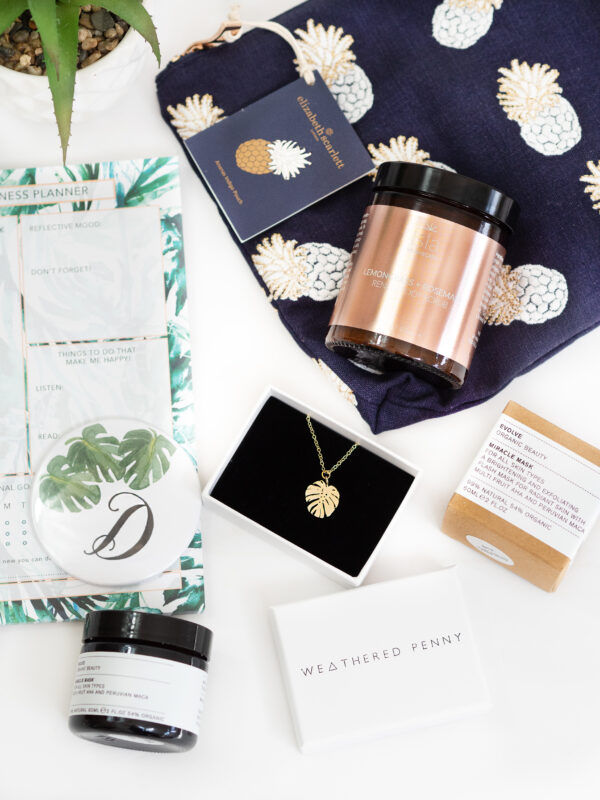 The Tropical Box by Moi-Même with Navy Pineapple Pouch by Elizabeth Scarlett