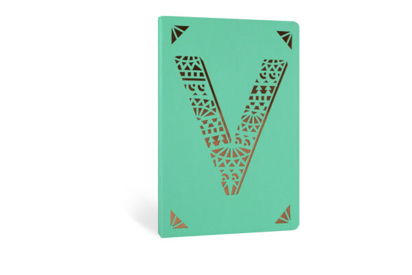 V Monogram Foil A6 Notebook by Portico Designs