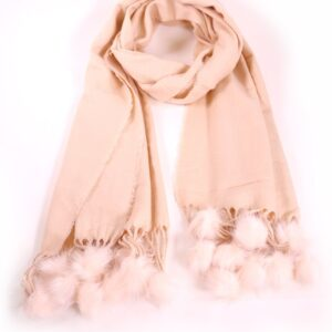 Blush Pink Winter Scarf with Blush Pink Pom Poms 1