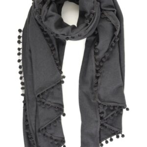 Dark Grey Scarf with Pom Poms