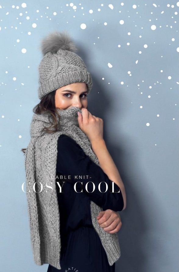 Cable Knit Gloves Katie Loxton Charcoal Grey
