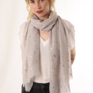 Light Grey Scarf with Copper Metallic Starburst Print
