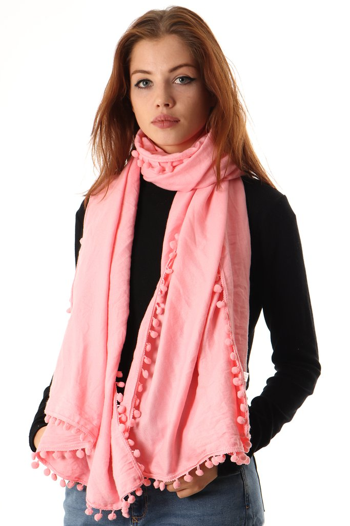 Light Pink Winter Scarf With Pom Poms Moi M 234 Me