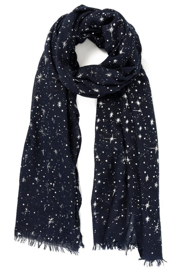 Navy Scarf with Metallic Starbursts - Silver