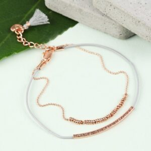 Lisa Angel Leather and Ball Chain Bracelet Rose Gold