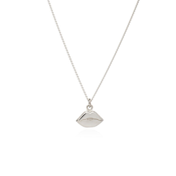 Rachel Jackson London Game Face Collection Fit Face Silver Lips Necklace