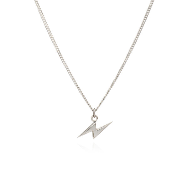 Rachel Jackson London Game Face Collection Power Face Silver Lightning Bolt Necklace