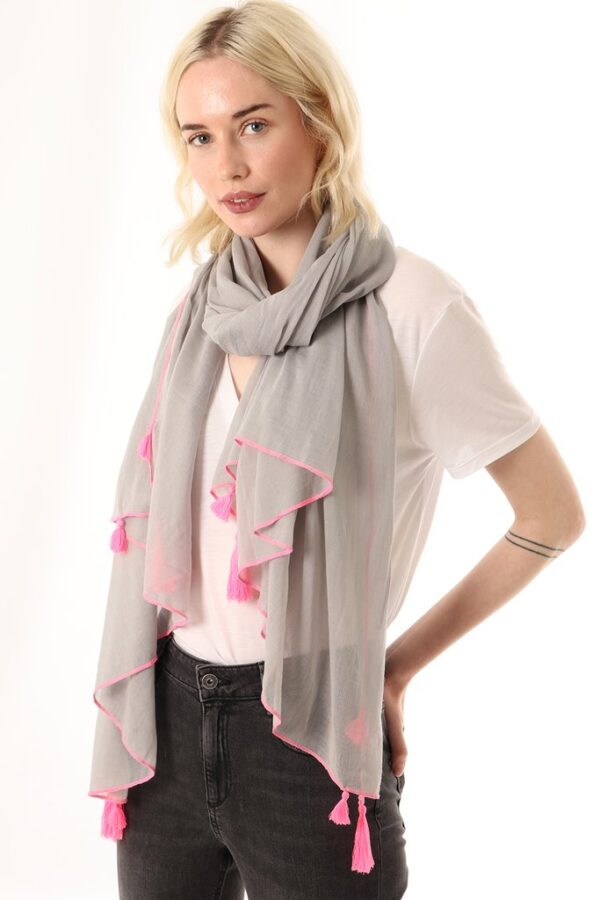 Grey Lightweight Scarf with Neon Pink Trim and Tassels