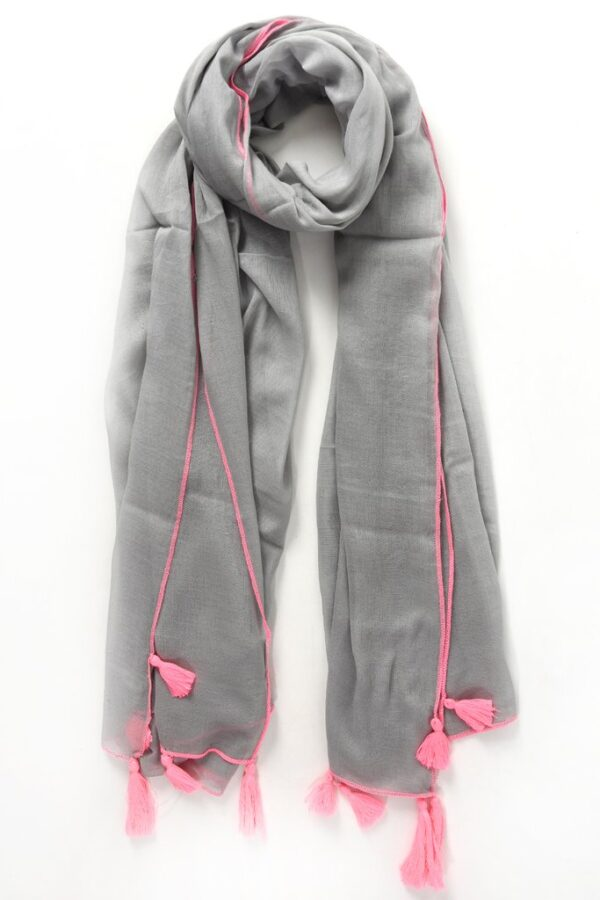 Grey Scarf with Neon Pink Stitching Trim and Tassels