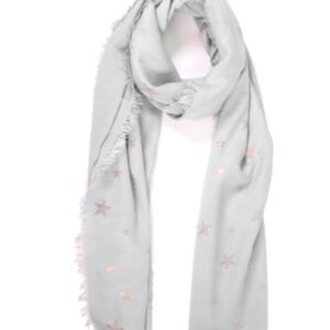Light Grey Scarf with Copper Stars