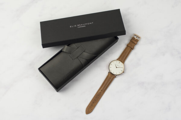 Elie Beaumont Oxford Large Watch Camel Rose Gold