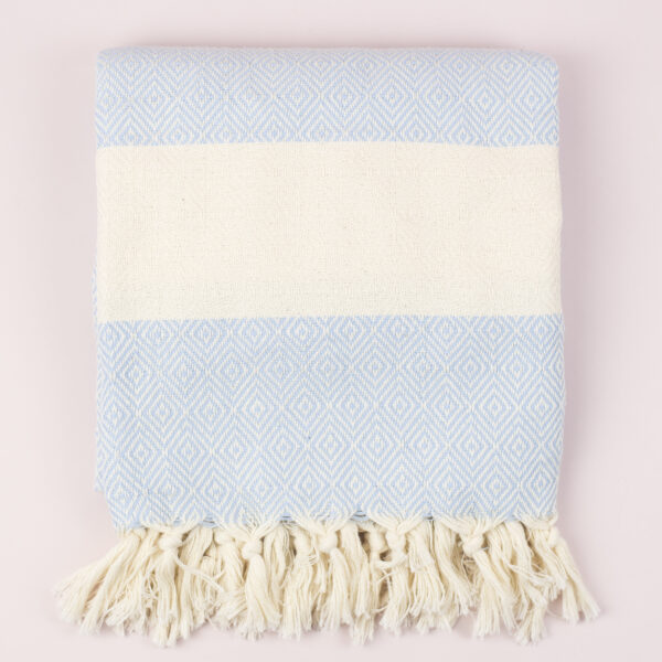 Moi-Meme Sky Blue Organic Cotton Hammam Towel
