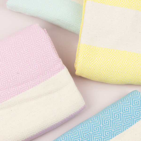 Moi Meme Organic Cotton Hammam Towels - Pink Aqua Yellow Turquoise