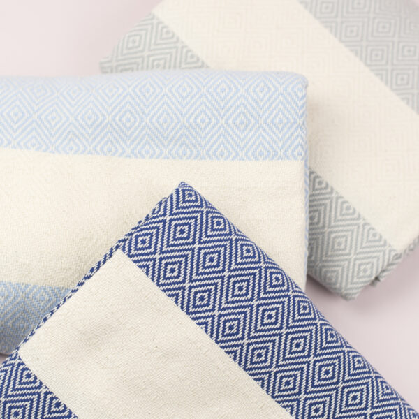 Moi Meme Organic Cotton Hammam Towels - Navy Grey Pale Blue