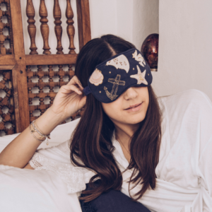 Elizabeth Scarlett Seashell Eye Mask in Use