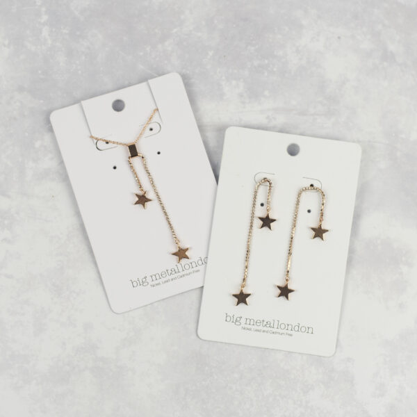 Big Metal London Rose Gold Earrings and Necklace