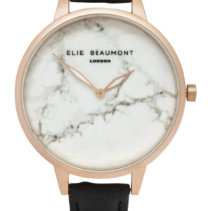 Elie Beaumont Richmond Marble Watch in Black and Rose Gold
