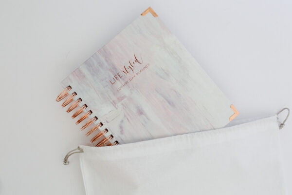 Life Styled Planner Luxury Day Planner 2020 Painted Rose Cloth Bag