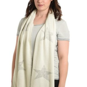 Cream Cashmere Blend Scarf with Light Grey Stars in use