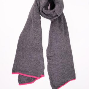Dark Grey Cashmere Blend Scarf with Neon Pink Trim