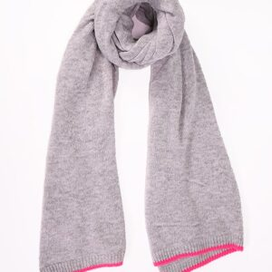 Light Grey Cashmere Blend Scarf with Neon Pink Trim