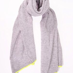 Light Grey Cashmere Blend Scarf with Neon Yellow Trim