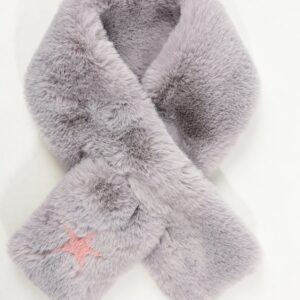 Light Grey Faux Fur Scarf with Pink Star Detail