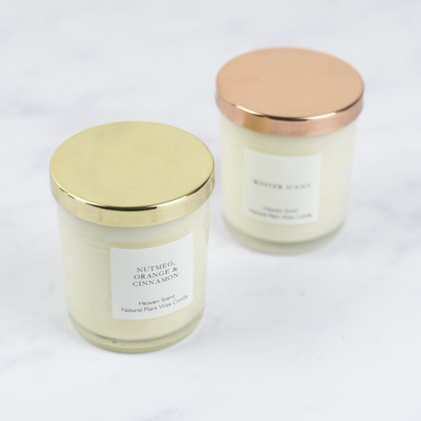 Heaven Scent Christmas Candles Winter Scent and Nutmeg Orange and Cinnamon with Lids