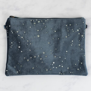 Grey Velvet Pouch with Silver Star Constellations Design