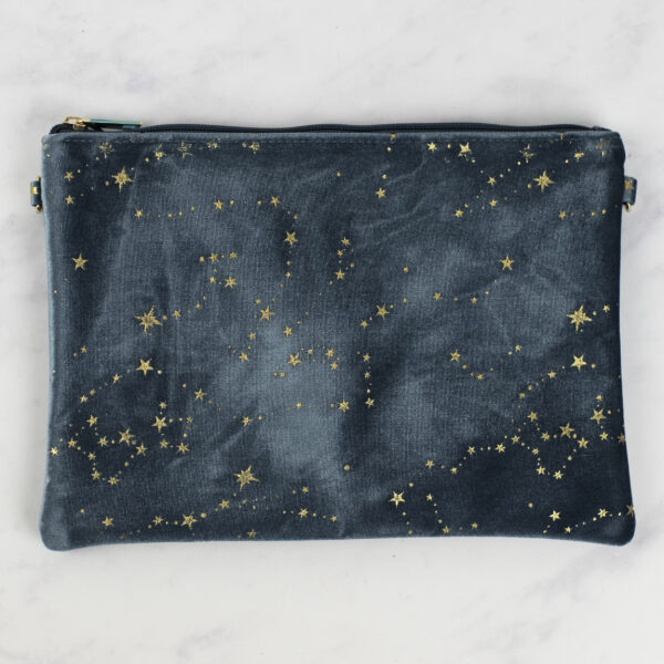 Grey Velvet Pouch with Gold Star Constellations Design