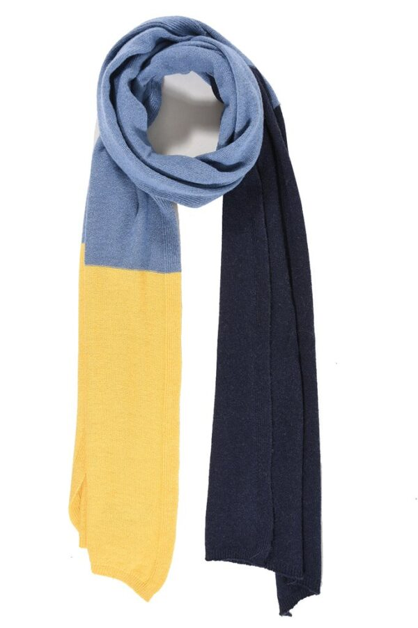 Navy Blue and Mustard Cashmere Blend Scarf