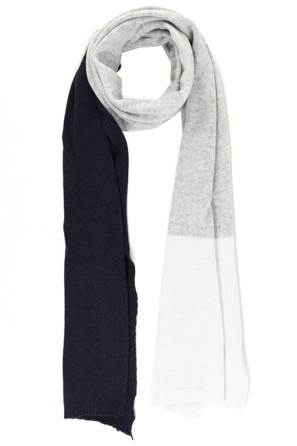 Navy Cream and Grey Cashmere Blend Scarf