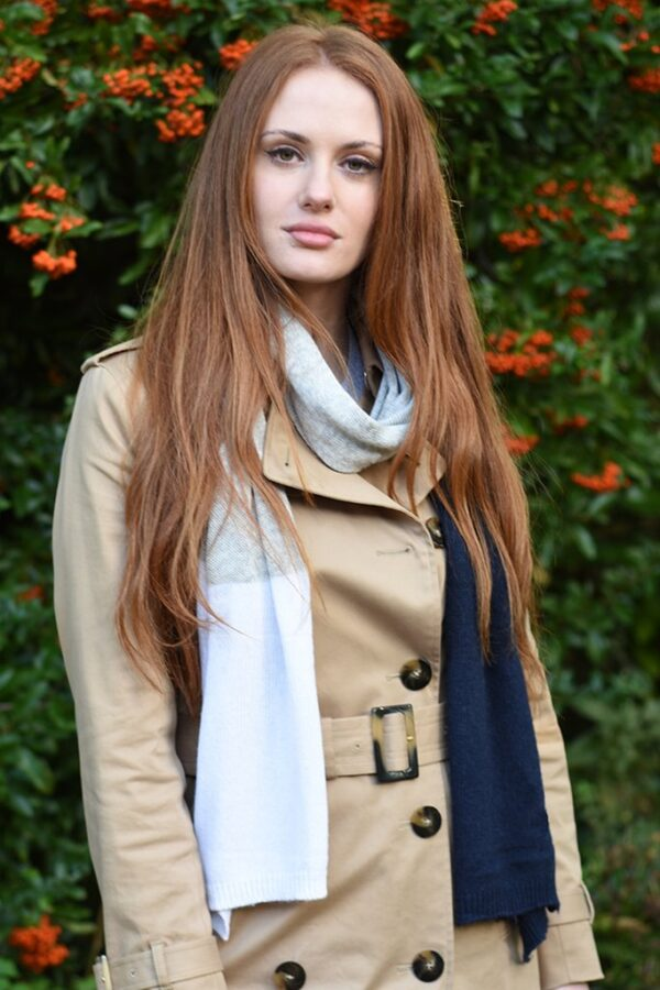 Navy Cream and Grey Cashmere Blend Scarf in use