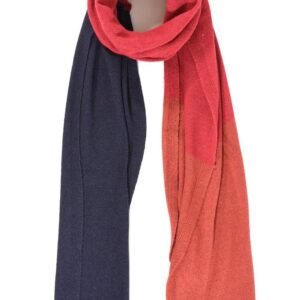 Navy Red and Burnt Orange Cashmere Mix Scarf
