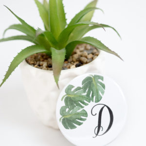 Moi Meme Personalised Monogram Palm Leaves Compact Mirror