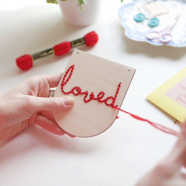 Cotton Clara Loved Embroidery Banner Kit Finished